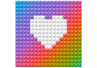 Bright Rainbow Heart PSD Background