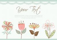 Cute Pastel Colored Flowers Card PSD