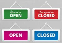 Open and Closed Hanging Sign Boards PSD