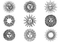 Hand Drawn Ancient Sun Brushes Pack II