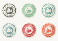 Glossy Thumbs Up Badge PSD Set