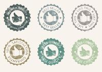 Grunge Thumbs Up Badges Conjunto PSD