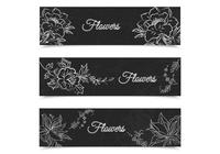 Chalk Drawn Floral Banners Ensemble PSD