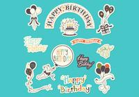 Happy Birthday Sticker Set PSD
