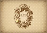 Vintage Floral Etched Frame Background PSD