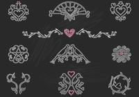 Chalk Drawn Heart Birds Ornaments PSD Pack