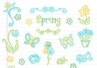 Drawn Floral Spring Elements PSD Collection
