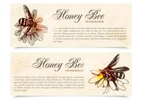 Honey Bee Banners Conjunto PSD