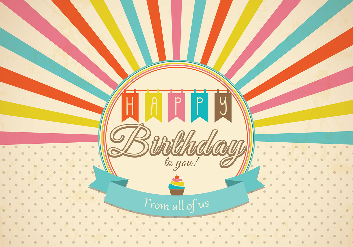 Retro Happy Birthday Card PSD