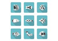 Gestileerde Fish Icons PSD Set