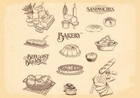 Handgezogene Bäckerei Brotbürsten