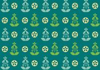 Teal Green Retro Flower Pattern