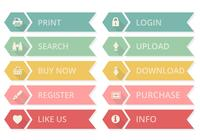 Flache web buttons psd set