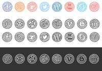 Sketchy Drawn Iconos de medios sociales PSD Pack