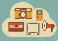 Retro cloud psd
