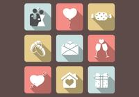 Flat Love Icons PSD Set