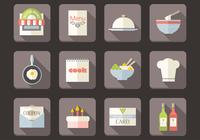 Platte Restaurant Pictogrammen PSD Set