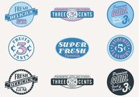 Retro dulces insignias PSD Set