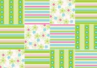 Flowers and Stripes Seamless Patchwork Pattern