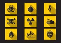 Danger Warning Flat Icons PSD Collection