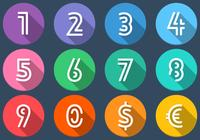 Flat Number Icons PSD Set