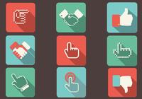 Flat Shadow Hand Icons PSD Set