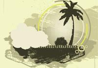 Grunge Palm Tree Background PSD