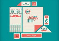 Hipster retro identitet psd set