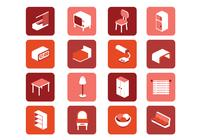 3D Furniture Icons PSD Set