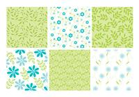 Blue Green Floral Leaves Backgrounds Conjunto PSD