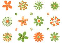 Retro orange gröna blommor psd set