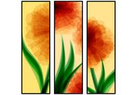 Abstract Red Flower Banners Conjunto PSD