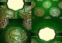 Emerald and Gold Floral Vintage Backgrounds PSD