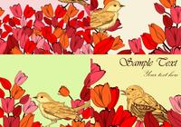 Flowery Bird Backgrounds PSD