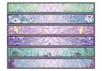 Swirly Floral Banners Ensemble PSD