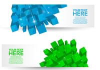 Bright 3D Cube Banners Ensemble PSD