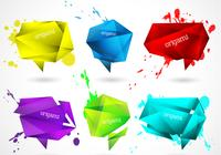 Splattered Origami Banners PSD Set