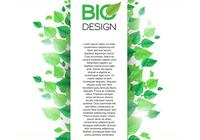 Vertical Green Leaf Banner Background PSD