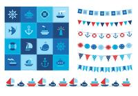 Summertime Ocean Icons und Buntings PSD Set