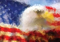 Polygonal Eagle American Flag Background PSD