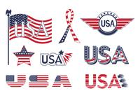 USA Flag Elements PSD Collection
