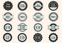 Schwarzes Retro Label Badge PSD Pack