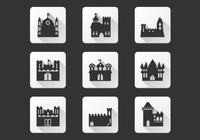 Zwarte kasteel iconen psd set