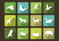 Long Shadow Animal Silhouettes PSD Set
