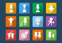 People Kids Icon PSD Set