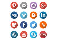 Round Social Media Pictogrammen PSD Set