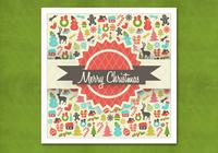 Retro Christmas Background PSD