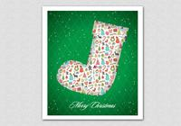 Green Patterned Christmas Stocking PSD Background