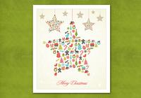 Retro Hanging Christmas Star PSD Background