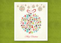 Retro Hanging Christmas Ornament PSD Background